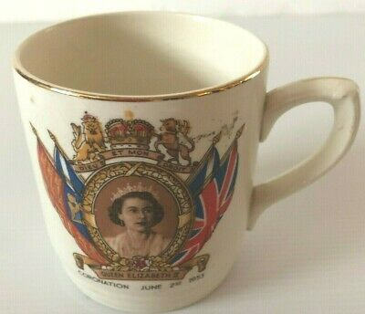 Queen Elizabeth 1953 Coronation Mug, Burlington Ware (J.Shaw & Sons Ltd)