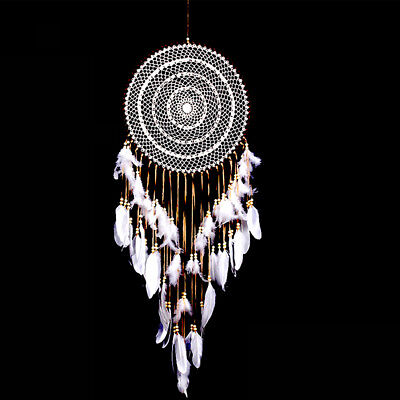 Large White Boho Dream Catcher with White Feather Hanging Wedding Decoration