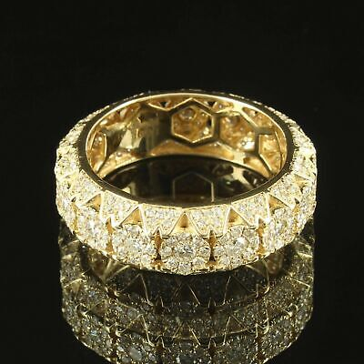 2Ct Round Diamond Cluster Eternity Pyramid Style Band Ring 14K Yellow Gold Over