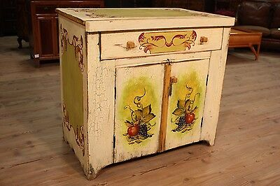 Cupboard sideboard lacquered wood painted furniture decorations fruit antique XX