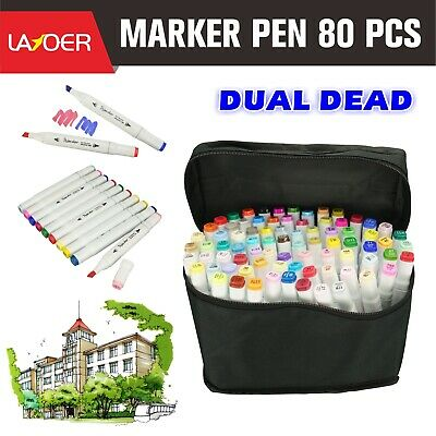 Marker Pens 80 Color Set Twin Tips Graphic Animation Art Sketch White 80PCS