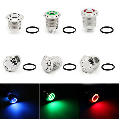 16mm Metal 12V LED Power Symbol Latching Push Button Switch 2/4Pin SPST For Car