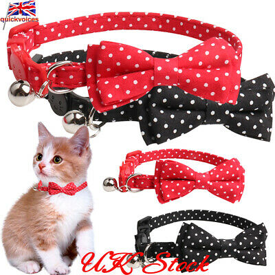 Cat Kitten Dog Puppy Polka Dot Bow Collar Pet Small Bell Necklace Safety Clasp