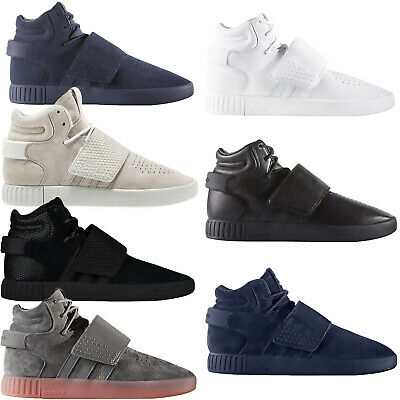 big sale 097a9 e7214 adidas Originals Mens Tubular Invader Strap Casual Lace Up Hi Top Trainers  Shoes