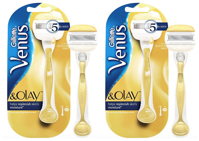 2 x Gillette Venus & Olay Womens 5-Bladed Razor with Olay Moisture Bars *GENUINE