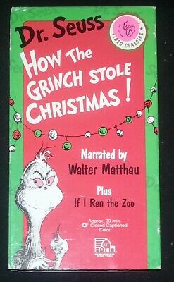 Dr. Seuss How The Grinch Stole Christmas Narrated by Walter Mattau (VHS)