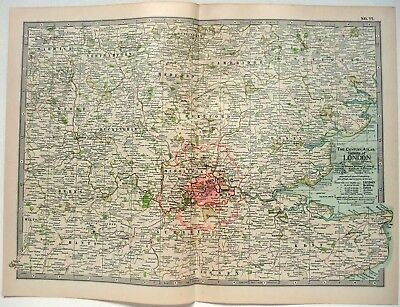 Original 1902 Map of The Vicinity of London, England by The Century Company.