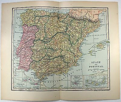 Original 1903 Map of Spain and Portugal by Dodd Mead & Company