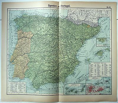 Original German Map of Spain & Portugal by Otto Herkt c1912. Antique