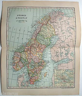 Original 1903 Dated Map of Sweden & Norway by Dodd Mead & Company