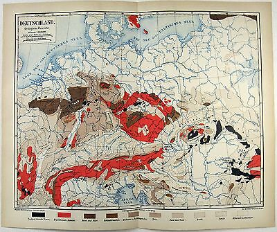 Original 1875 Geological Map of Germany by Meyers.  Deutschland