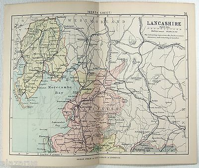 Original Philips 1891 Map of Northern Part of The County of Lancashire, England