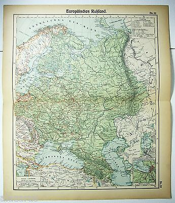 Original German Map of European Russia by Otto Herkt c1912, Antique