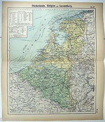 Original German Map of The Netherlands & Belgium by Otto Herkt c1912, Antique