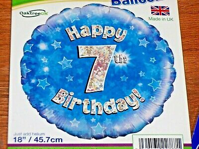 """Oaktree 18/"""" Foil Balloon Happy 7th Birthday Blue Holographic"""