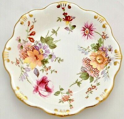 """Royal Crown Derby Pretty Vintage Derby Posies Scalloped 4.25"""" Gilded Pin Dish"""