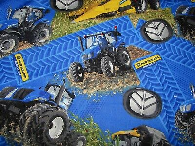 New Holland Tractors Blue Baby Bib Cotton Front Towelling Back Handmade
