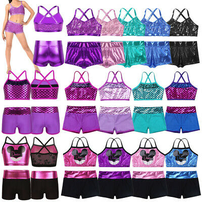 Girls 2-Piece Set Metallic Dance Outfit Jazz Gym Sport Crop Top+Shorts Dancewear