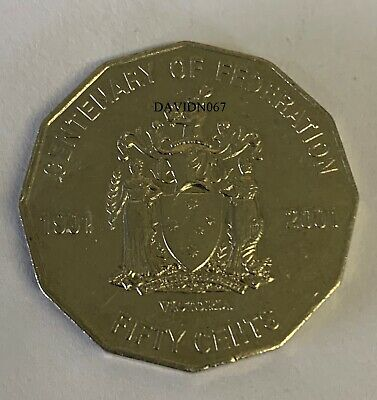 2001 Circulated 50c Coin Centenary of Federation VICTORIA