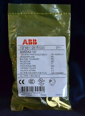 NEW ABB Key Operated Select Switch Modular w/ 2 keys M2SSK2-101 1SFA611281R1001