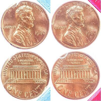 1980 P D Lincoln Memorial Cent BU US Mint Cello 2 Coin Penny Set