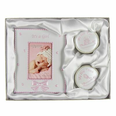 """Gift set - 2"""" x 3"""" Frame/1st Tooth/1st Curl Boxes Pink - CG409"""