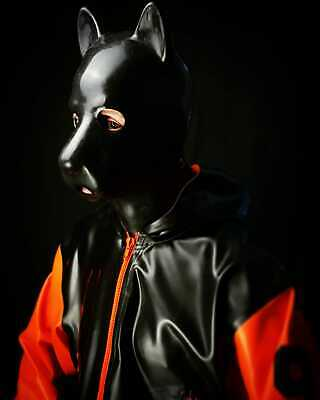 Latex Jacke Gay BDSM Fetish Rubber Folsom. Collegejacke mit Kapuze orange