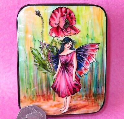 Poppy Flower Fairy Russian SMALL HAND PAINTED LACQUER SHELL Box SILANTYEVA GIFT