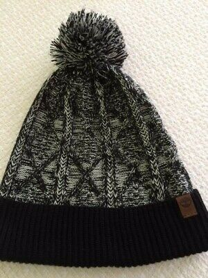 61b774a3 TIMBERLAND COLOR BLOCKED LOGO KNIT WATCH CAP BEANIE BLACK Winter Hat ...