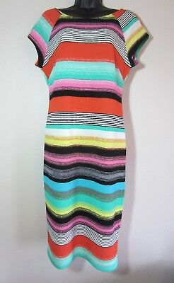Eci New York Dress 10 Multi-color Stripe Cap Sleeves
