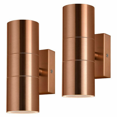 Litecraft Pack of 2 Kenn Copper Outdoor Up & Down Wall Light Garden Porch Lamp