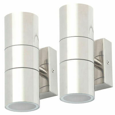 Litecraft Pack of 2 Kenn Outdoor Up&Down Wall Modern Garden Light Polished Steel