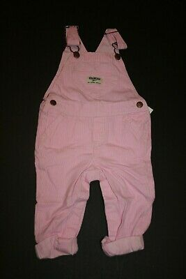 New OshKosh Girls 6m 9-12m  Pink Corduroy Floral Trim Cuffs Overalls Vestbak