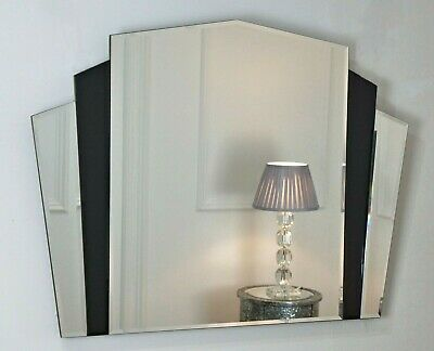 "Piermont Black Glass Framed Overmantle Art Deco Mirror 43"" x 32"" (110cm x 80cm)"