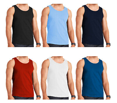 6 Mens Vests 100% Cotton Top Tank Training Sleeveless Summer Gym S M L Xl 2Xl
