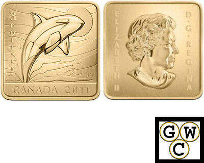 2011 'Orca Whale' Wildlife Conservation $3 Square-Shaped Gold-Plated (12792)