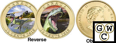 2010 Albertosaurus Dino Exhibit-CDN Museum of Nature Lenticular 50ct Coin(12685)