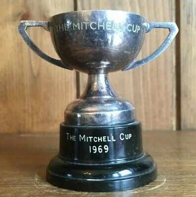 vintage 1969 Mitchell Cup silver plate trophy, loving cup, trophies, trophy