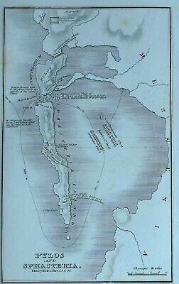 c1825 THUCYDIDES ANCIENT GREECE MAP PYLOS SPHACTERIA ANCIENT FORT ATHEMIAN FLEET