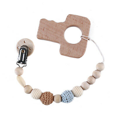 Wooden Dummy Clip Pacifier Chain Wooden Teether Baby Holder Toy Beaded 8C