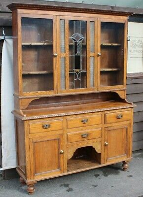 1920's Large Oak Original Dresser with Cupboards and Drawers. Lead Glass in Door