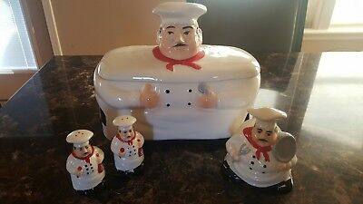 FAT CHEF KITCHEN Decor Set Ceramic Bread Box Salt/Pepper ...