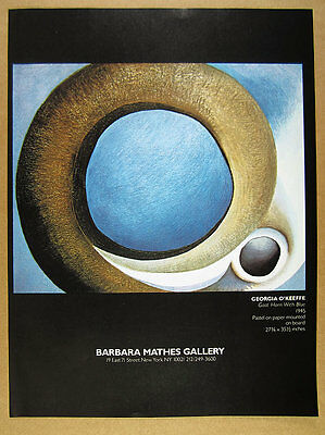 1981 Georgia O'Keeffe 'Goat Horn with Blue' pastel NYC gallery vintage print Ad