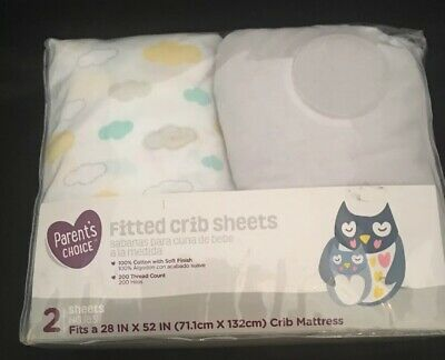 Parents Choice 2 Pack Infant Baby Fitted Cotton Crib Nursery Sheet Owl Design