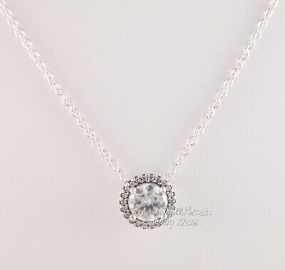 300111605 CLASSIC ELEGANCE Authentic PANDORA Silver ZIRCONIA Necklace 396240CZ-45 w  POUCH!