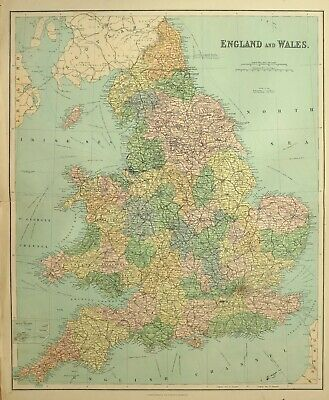 1902 Large Antique Map England & Wales York Durham Lincoln Cornwall Suffolk
