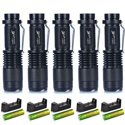 5 Pack SK68 Mini XML-T6 Tactical Flashlight 50000LM + 18650 Rechargeable Battery