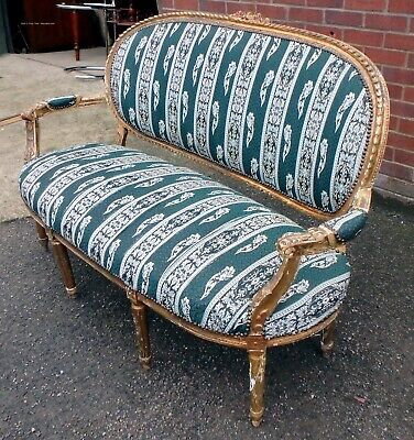 Victorian antique carved gilt wood French style Classical salon settee sofa seat