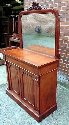 Victorian antique solid Cubam mahogany mirror back sideboard buffet console