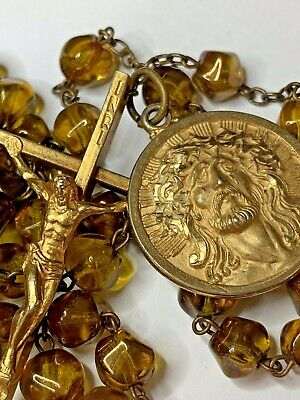 † Unique Vintage Gold Filled / Tone Ecco Homo & Yellow Amber Stone Like Rosary †